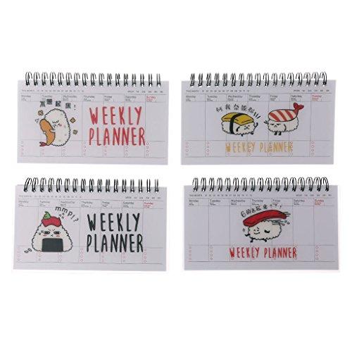 BASSK Agenda settimanale di cartone animato carino spirale taccuino note agenda