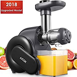 Juicer, Slow Masticating Juice Extractor With Reverse Function, Aicok Cold Press Juicer With Quiet Motor, Juice Jug & Brush For High Nutrient Juice, Bpa Free