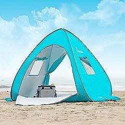 WolfWise UPF 50+ UV Schutz Strandmuschel Pop Up Baby/Familien Sonnenschutz Strandzelt Sonnenschirm Tragbar Blau