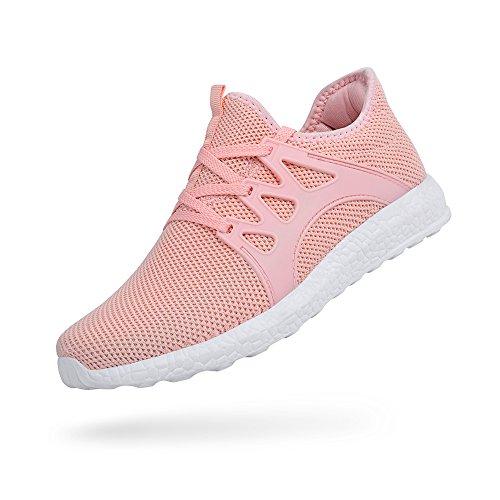 ZOCAVIA Herren Damen Sneaker Running Laufschuhe Sportschuhe Rutschfeste Sneaker Rosa 36 EU