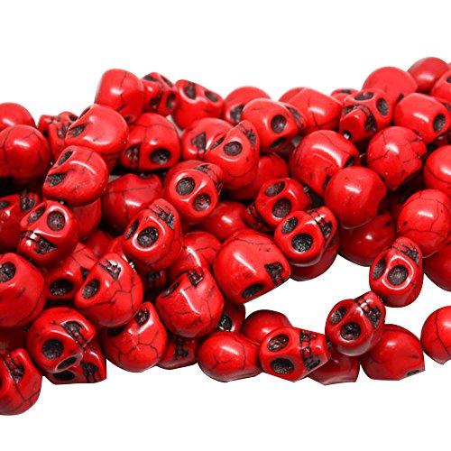 Ndier Perlen Taschio Set 20 Stück Perlen Cranio Naturstein für Halskette Armband FAI Da Te, Rot 12mm