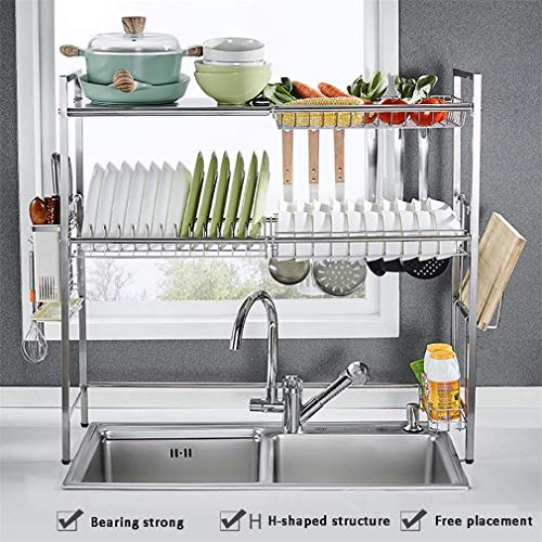 AILEYOU Doppelschicht Edelstahl Waschbecken Abflussregal Küchenregal Geschirrkörbe Lagermaterial Lagerregal - 83 * 27.2 * 80 cm