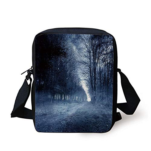 Halloween,Ghostly Haunted Forest Image Bleak Gloomy Misty Nature Landscape Decorative,White Black Light Blue Print Kids Crossbody Messenger Bag Purse