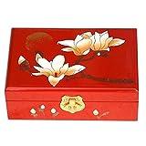 Chinesischen Stil zweischichtige Holz Schmuckschatulle Organizer Display Aufbewahrungskoffer Schatzkasten mit Schloss, Magnolie Rot