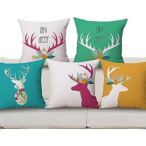 Harson&Jane Deer Cotton Linen Square Decorative Cushion Cover (45×45, 04) by Harson&Jane