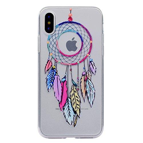 Cover Per iPhone X,Sunrive® Custodia Case in molle Trasparente TPU silicone Morbida Flessibile Pelle Antigraffio protettiva(Amore) Cacciatore di sogni