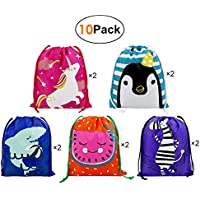 Drawstring Gift Bags Party Favours Supplies Bags for Kids Boys Girls Birthday 10 Pack