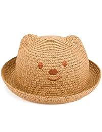 Leisial Niños Bebé Sombrero de Paja Playa Sombrero de Osoito Gorro de Sol de Ocio al Deporte Aire Libre Verano para Unisex Niños