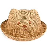 Gespout Ragazzi e Ragazze Cappello di Paglia Bambino Cappello da Sole Bello  Orso Ricamo Topper Cappello ae413ce1b1c3
