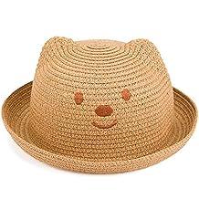 8a100a453d5ae Leisial Niños Bebé Sombrero de Paja Playa Sombrero de Osoito Gorro de Sol  de Ocio al