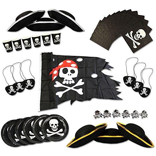 COM-FOUR® Piraten-Geburtstagsfeier-Set für bis zu 6 Kinder - Piratenhut, Augenklappe, Ringe, Flagge, Teller, Becher, Servietten (Set Piraten)