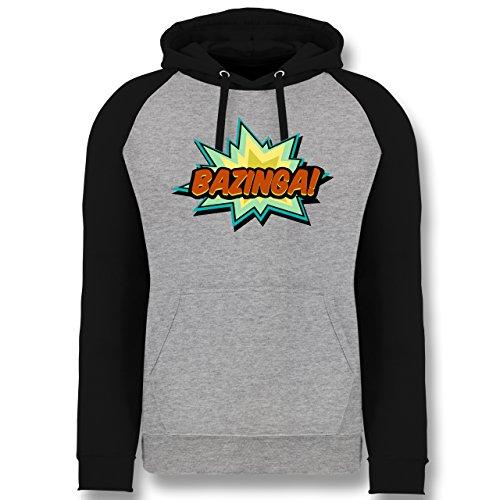 Comic Shirts - Bazinga! - XL - Grau meliert/Schwarz - JH009 - Baseball Hoodie