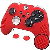 Pandaren BORCHIE silicone custodie cover pelle antiscivolo per entrambi Xbox One Elite e standard controller x 1 (rosso) + thumb grips pollice prese x 2