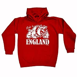 123t Kids Boy's Girl's MADE IN ENGLAND BULLDOG DESIGN (VARIOUS COLOURS) HOODIE AGES 1 - 13