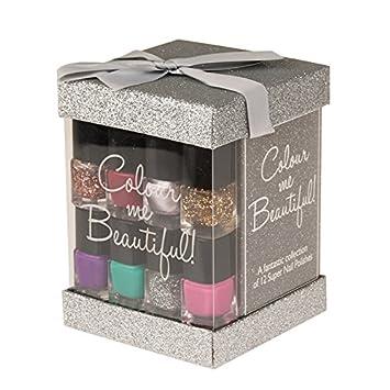 Colour Me Beautiful 12x Nail Polish Cube Gift Set - Silver: Amazon ...