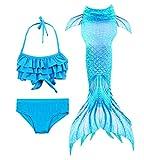HiFunBay Ragazze Coda da Sirena per Nuotare Bambina Costume da Bagno Incluso 3PCS Bikini (DH53+WJF46,150)