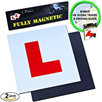 Magnetic L Plates by Le Yogi | Extra Thick Strong Learner Plates, BONUS Scenic Drive and Tips Ebook, Guaranteed To Not Fly Off At High Speeds, 2 Pack