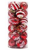 Outgeek 24 Pack Navidad adornos de bolas de Navidad colgante de plástico para la decoración del árbol