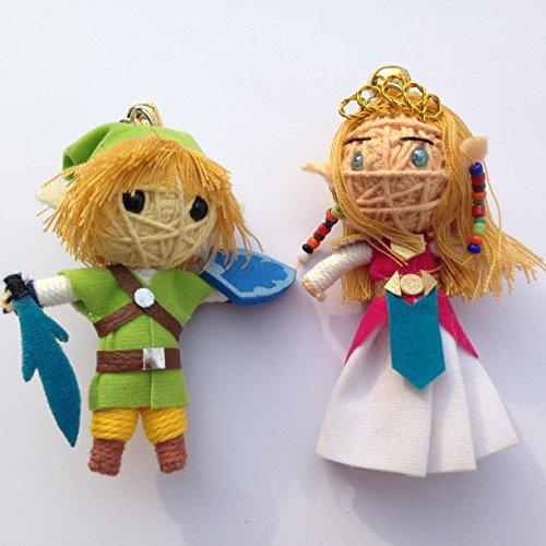 Legend Of Zelda Set von 2Voodoo String Schlüsselanhänger mit Puppe-Link und Prinzessin Zelda (Doll String Set)