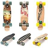 meteor Holz Skateboard Kinder - Mini Cruiser Kickboard - Skateboard mädchen Rollen Board - Hohe Qualität Old School Skateboards Holz Deck - Retro Skateboard Jungen - Kinder ab 3 Jahre Mini-Board