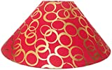 "RDC 13"" Round Red with Golden Polka Dots Designer Lamp Shade for Table Lamp or Floor Lamp"