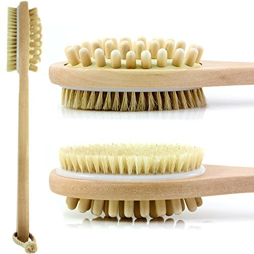 Bath Blossom Natural Bristle Body Brush - Exfoliating Scrub Brush - Effective For Wet And Dry Body Brushing - Long Handled -Suitable For Men And Women by Bath Blossom