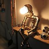 DKLICH Tischleuchte Wasserleitung Nachttischleuchte Schreibtischlampen Tischlampe Kopf Nachttischlampe Faltreifen für Wohnzimmer Schlafzimmer Studierzimmer Hotel Loft Style Vintage Metall Tischleuchte
