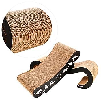 Griffoircarton , RISEPRO Griffoirchat 2 en 1 Premium arbreàchat , infinity Lounge en carton ondulé réversible ergonomique Griffoir, découpes pour jouet pour chat CSB8627?2