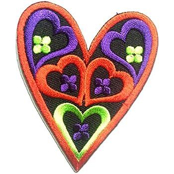 5,6x6cm Herz Liebe Patches Aufbügeln rosa Aufnäher // Bügelbild