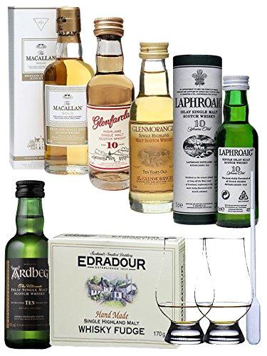 Whisky Probierset jew. 5 cl Ardbeg 10, Laphroaig 10, Glenmorangie 10, Macallan Gold, Glenfarclas 10, 170 Gramm Edradour Fudge Bonbons, 2 Nosing Gläser + eine Einwegpipette