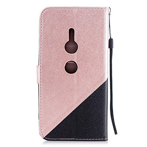 Coque Sony Xperia XZ2,Etui Sony Xperia XZ2,Surakey Sony Xperia XZ2 Cuir PU Housse à Rabat Portefeuille Étui Flip Case Folio à Clapet Stand de Fermeture magnétique, Noir+Rose Or