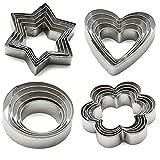 Formine per biscotti in acciaio inossidabile (Forme a stella, cuore, fiore, cerchio) Set da 20 di KAISHANE