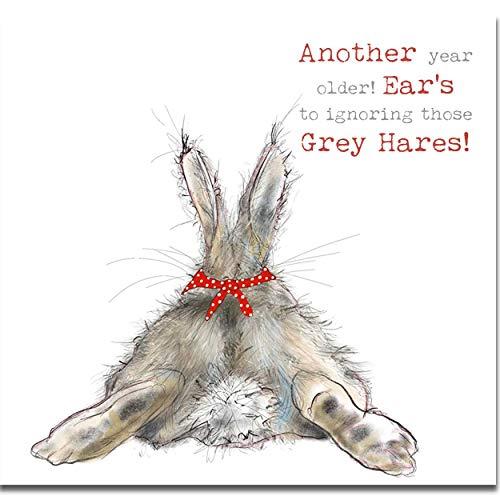 Geburtstagskarte, Thankyou-Motiv mit grauen Hasen