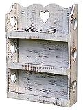 more-decor-de Gewürzregal Küchenregal mit viel Herz - Regal für Gewürze - Shabby Chic - Weiß