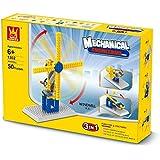 Juego de bloques para aprender los principios de la mecánica. Construye dos molinos de viento diferentes o una catapulta.