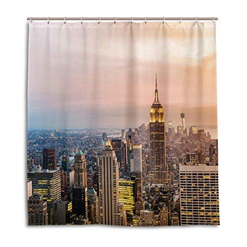 jstel Decor Dusche Vorhang New York City Wolkenkratzer Sonnenuntergang Muster Print 100% Polyester Stoff 167,6x 182,9cm für Home Badezimmer Deko Dusche Bad Vorhänge mit Kunststoff Haken