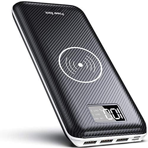 KEDRON Wireless Powerbank 24000mAh Externer Akku, 2 in 1 Kabellose Power Bank mit LCD Digital Display und Dual Input & 3 Ausgänge hohe Kapazität Tragbares Ladegerät für das Smartphones -
