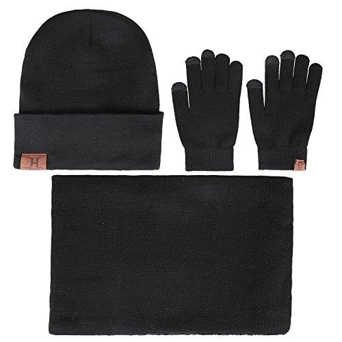 Bequemer laden cappello berretto invernale da uomo + sciarpa + guanti touch screen set da 3 pezzi di abbigliamento invernale caldo per uomo