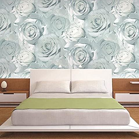 Cunguang High-Grade Non-Woven Fabric 3D Red Pink Rose Wallpaper Living Room Bedroom Tv Background Wall Korean Big Flower Wall Paper 1625 5.3?