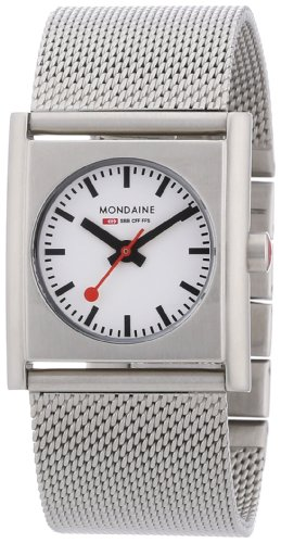 Mondaine Evo Cube Ladies Watch A658.30320.16SBM with White Square Dial on Stainless Steel Silver Bracelet