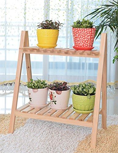 gaowufengyl Blumentopf Regal europäischen Einfache Holz 2Ablagen Wohnzimmer Balkon Schlafzimmer Pflanzgefäß–Ebene Regal Montage Blumentopf Regal, B, 50cm*30cm*60cm