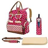 Baby Wickeltasche, Travel Rucksack Veranstalter mit Wickelunterlage, Isolierter Flaschenhalter, Schulterriemen (rot)