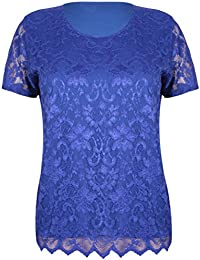 Womens Short Sleeve Ladies Stretch Round Scoop Neckline Lined Floral Lace Blouse T-Shirt Top Plus Size