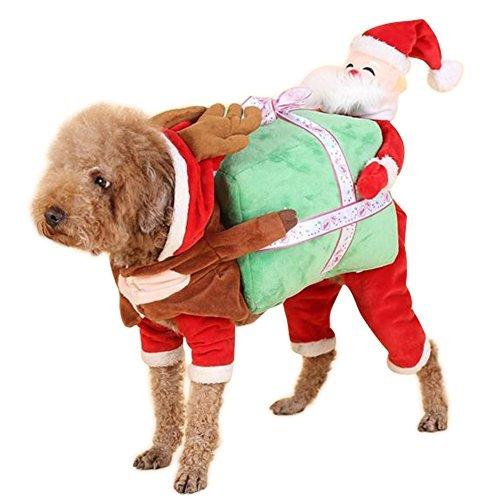 Box Hunde Kostüm Geschenk Tragen - NACOCO Hund Kostüm Tragen Geschenk-Box mit Santa Claus Pet Cat Kostüme Funny Christmas Party Festival Urlaub Outfit, S, Rot