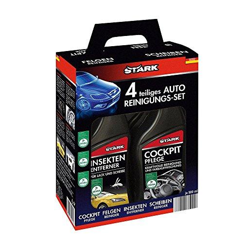 STARK 40035 - Kit de limpieza para coche, 4 piezas (limpiador para insectos, cabina, llantas y parabrisas)