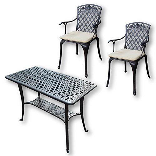 Lazy Susan - BBQ Grillparty Beistelltisch mit 2 ROSE Stühlen - Gartenmöbel Set aus Metall, Weiß
