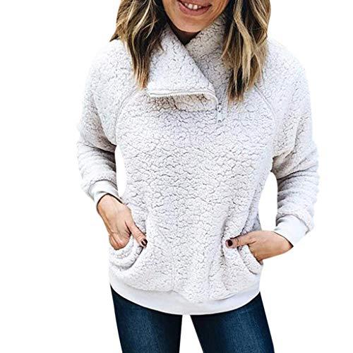 TianWlio Damen Herbst Winter Jacken Parka Mäntel Lässige Feste Ständer Warme Wolle Taschen Reißverschluss Sweatshirt Mantel Outwear Tops Weiß S