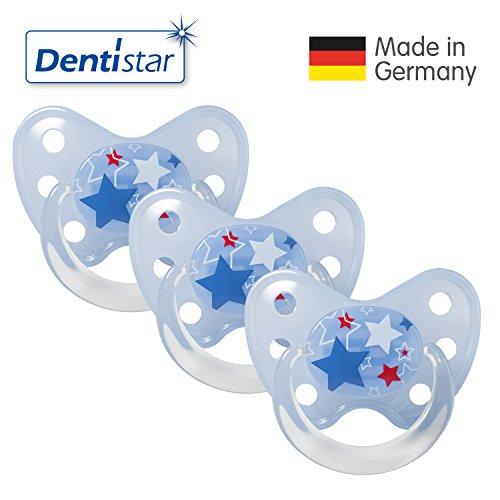 Dentistar® 3er Set Latex-Schnuller - Größe 3, ab 14 Monate - Nuckel zahnfreundlich Naturkautschuk für Babys ab ersten Backenzahn, Sterne Blau
