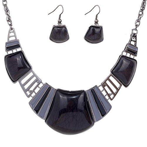 YAZILIND Vintage ethnischen tibetischen Sliver schwarz Türkis Bib Halskette Ohrringe Halskette Schmuck Set Frauen -