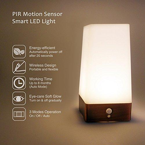 Princeway Neuartige Batteriebetriebene LED Nachtlicht und Nachttischlampe mit Bewegungssensor- Sensor Arbeitsmodus und...